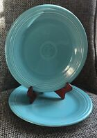 "Set Of 2 Fiestaware Retired Turquoise Blue Dinner Plates Fiesta 10.5"" Excellent"