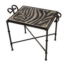 Zebra Stripe Tray Top Accent Table Wrought Iron Animal Print Black Furniture