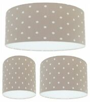 Handmade Lampshade Clarke and Clarke Taupe Beige and White Spot Polka Dot Fabric