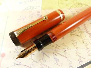 Restored Red Parker Duofold Senior Fountain Pen - restored