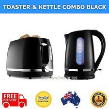 2 Slice TOASTER + 1.7L KETTLE Set BLACK Automatic Cordless Water Jug Boiler Tea