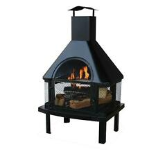 Outdoor Fireplace Patio Stove Wood Burning Tall Chimney Heater Chiminea Fire Pit