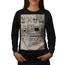 Wellcoda Rock & Roll Skull Music Womens Sweatshirt, Rock Casual Pullover Jumper