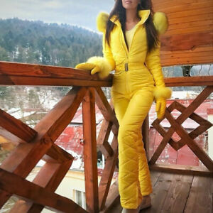 Women Winter Warm Jumpsuit Fur Collar Outdoor Skisuit Coat Romper With Gloves