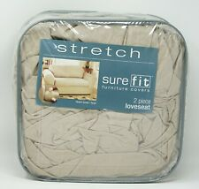 Sure Fit Stretch Faux Suede 2-Piece Loveseat Slipcover - Taupe
