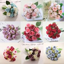 12 Heads Home Party Rose Bouquet Silk Flowers Decor New Artificial Wedding