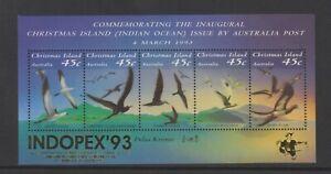 Christmas Island - 1993, Seabirds sheet + Indopex '93 Logo - MNH - SG MS377