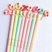 2pcs Cute Strawberry Donuts Pendant Mechanical Pencils Press Automatic Pens