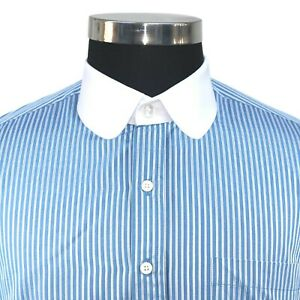 Peaky Blinders Penny collar Men's shirt Blue White Stripes Round Club Shelby