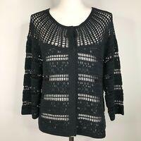TSE Cardigan Sweater Womens M Black Open Knit Crochet Sheer See Through