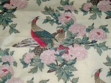 STROHEIM & ROMANN PHEASANT BIRDS TOILE CHINTZ FABRIC 12 YARDS CREAM CRIMSON