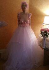 Pink & White Fantasy Goddess Crystal Sequin Tulle Bridal Ballgown Bohemian Beach