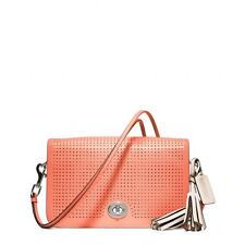 $298 NWT Coach Legacy Perforated Leather Penelope Shoulder Bag 23404 Coral/Sand