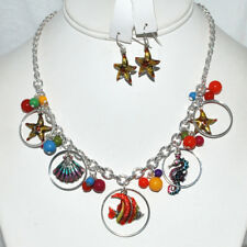 NEW MULTI CHARM COLORFUL SEA LIFE FISH NECKLACE EARRINGS SET