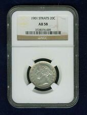 STRAITS SETTLEMENTS  VICTORA  1901  20 CENTS SILVER COIN CERTIFIED NGC AU58