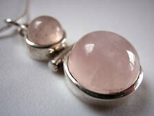New Round Dbl-Gem Rose Quartz Silver Necklace India