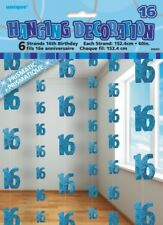 GLITZ BLUE 6 HANGING DECORATIONS 16TH BIRTHDAY 1.5M/5' BIRTHDAY PARTY SUPPLIES