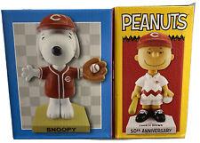 Peanuts Charlie Brown & Snoopy 2x Bobble Head Dolls Cincinnati Reds Mlb sga