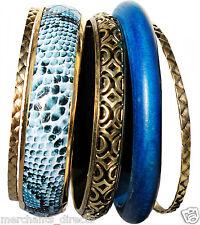 Ladies, Girls 5 Pc Bracelet Bangle Set - 1 Navy Wood, 1 Snake Print Blue, 3 Gold