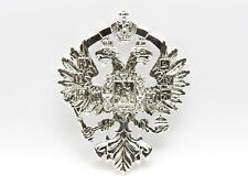 Superb Silver Plated Russian Imperial Double Headed Eagle Romanov  Coat of Arms