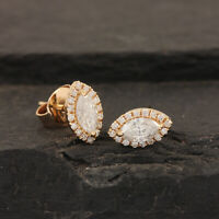 Real White Topaz Pave Diamond Marquise Evil Eye Stud Earrings 18k Yellow Gold