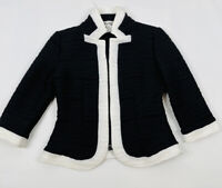 Joseph Ribkoff Womens 4 Black White Zip Front Career Jacket Blazer Stretchy