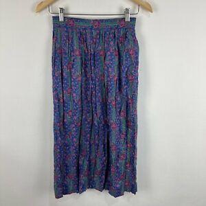 VINTAGE Fletcher Jones Womens Skirt Size Small Petite Purple Floral 70.05