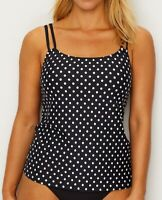 Sunsets BLACK/WHITE DOT Taylor Underwire Tankini Top, US 38D/40C