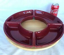 "4 Longaberger Paprika Crescent Dish & A Snudda 15"" Wood Birch Lazy Susan New"