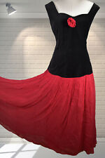 Vintage 1980s Flamenco Style Floaty Skirt Dress - Miss Selfridge UK 12/14