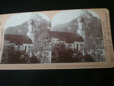Old Stereoview photograph cathedral at Ober-Ammergau Germany by Keystone c1890s