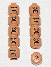 LEGO LOT OF 10 NEW FLESH COLORED HEAD FU MANCHU MUSTACHE PART
