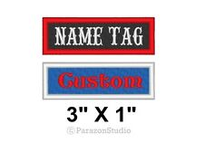 "Custom Embroidered Name Tag Title Patch Motorcycle Biker MC Badge 3"" X 1"" (B)"