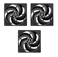 3 x Pack Arctic P12 PWM 12cm Pressure Optimised Computer Case Fan, Black & Black