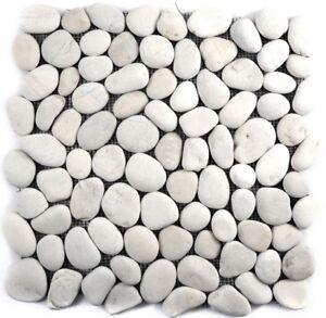 Flußkiesel Steinkiesel Kieselsteine weiß creme Dusche gewölbt 30-0102_b |1 Matte