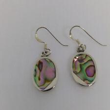Sterling Silver Pau/abalone shell  Oval Shaped Dangle  Earring.