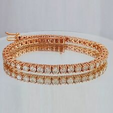 5.00ct ROUND CUT DIAMOND TENNIS BRACELET 14K ROSE GOLD D VS2-SI1