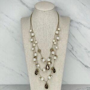 Betsey Johnson Gold Tone Multi Strand Faux Pearl Beaded Rose Rhinestone Necklace