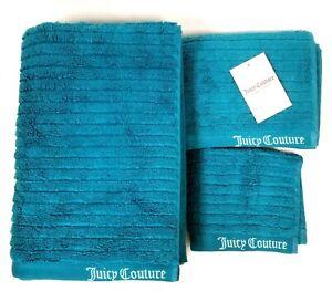 JUICY COUTURE 3 PC SET TEAL BLUE STRIPES COTTON PLUSH BATH,HAND TOWEL,WASH CLOTH