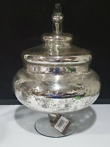 """NWT Large 13"""" SIA Covered Mercury Glass STYLE Pedestal Bowl Dish Urn RETAILS $90"""