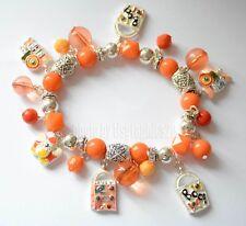 Halloween Beaded Stretch  Bracelet / Silver-tone / Orange Beads ~ Dangling Charm