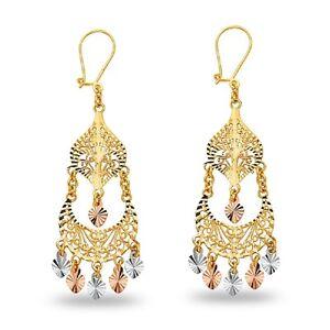 14k Yellow White Rose Gold Chandelier Dangle Earrings With Hearts Diamond Cut