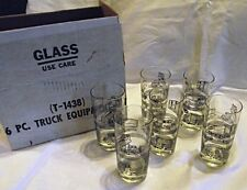 New listing Nos Vtg New Set of 6 Western Truck & Equipment Glasses Coolers Tumblers In Box