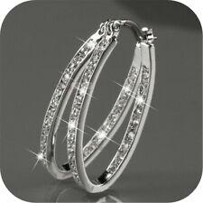 Women's 9K Gold Filled Silver CZ Crystal Big Hoop Huggie Wedding Earrings Gift