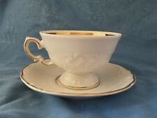 Royal Kent Tea Coffee Cup and Saucer China White Gold Trim Poland