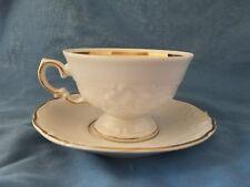 Royal Kent Tea Coffee Cup and Saucer Bone China White Gold Trim Poland