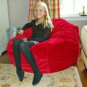 "1 PC Awesome Velvet (54""x 54""x 36"") Red Bean Bag Cover Without Beans Comfortable"