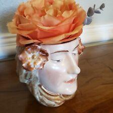 Antique Bisque Majolica Austrian Art Nouveau Mucha Lady Head Vase Tobacco JAR