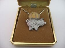 Cute PIGGY BANK w/ 1968 Penny Vintage Necklace Jewelry