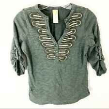 Women's Anthropologie C. Keer XS Green Shirt Blouse Top V-Neck Button Cotton